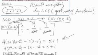 Solving a rational equation that simplifies to a quadratic equation Problem type 1.mov