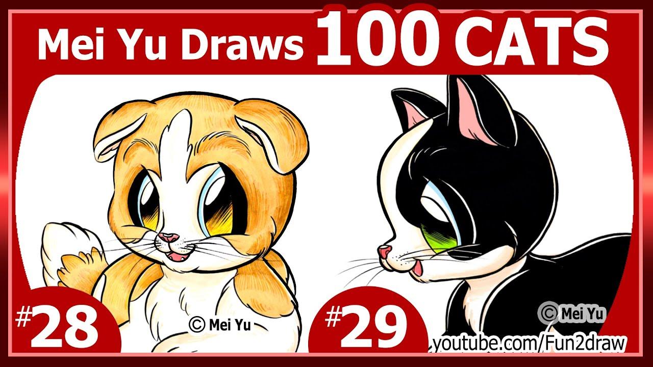 Mei Yu Draws 100 Cats #28 + #29 ★ Tuxedo Cat + Scottish ...