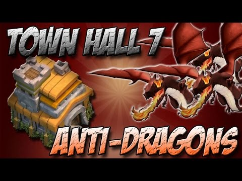 Clash Of Clans Th7 War Base / Town Hall 7 Defence Anti Dragon, Anti Hogs 2015