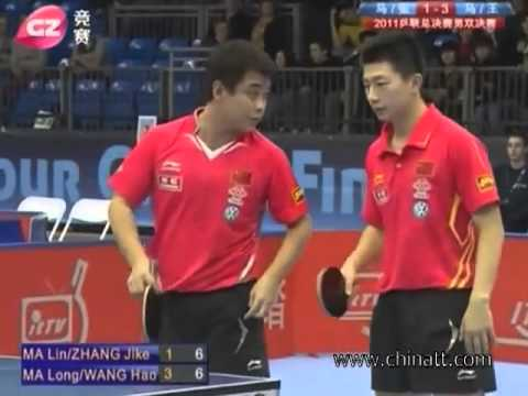 Ma Lin. Zhang Jike vs. Ma Long. Wang Hao --- Table Tennis Men double final Grand Tour Final 2011