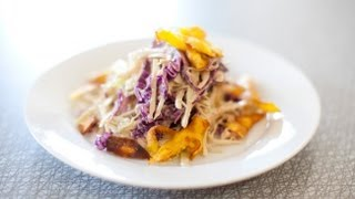 Vegan Jerk Coleslaw with Plantain Strips Recipe with Spork Foods
