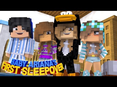 BABY ARIANA'S FIRST SLEEPOVER!! w/Little Carly (Minecraft Roleplay)