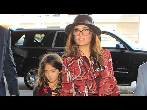 Salma Hayek, Post-49th-Birthday, And Daughter Valentina Are A Striking Pair  Through LAX