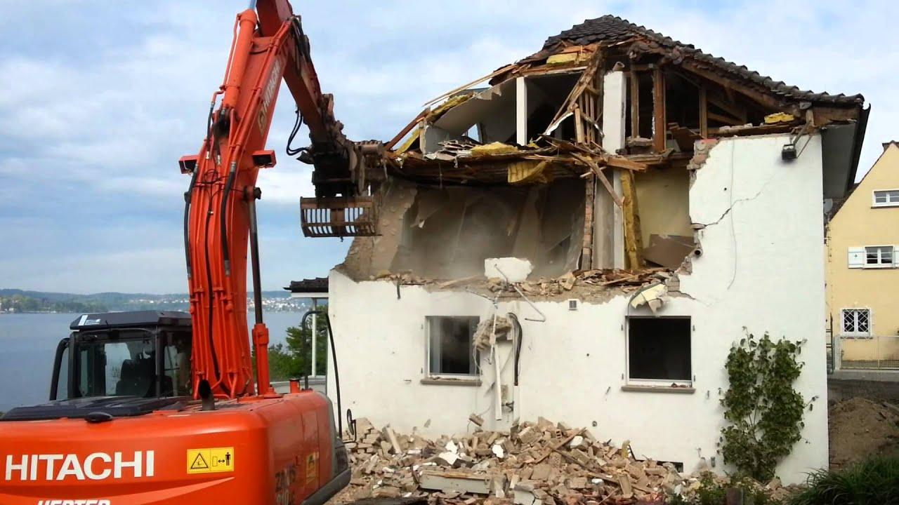 Sachen gibt\'s: Bagger zerstört Haus - YouTube