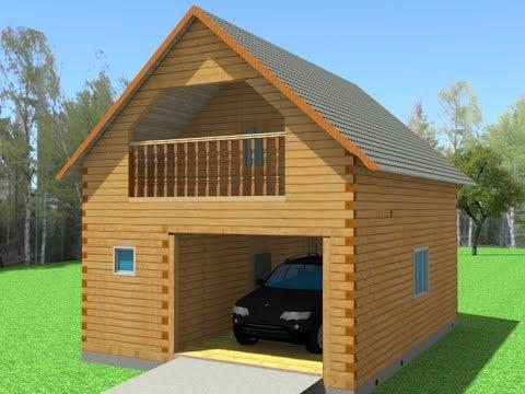 Строительство гараж из бруса своими руками 98