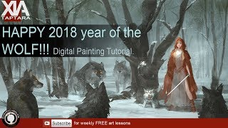 Happy 2018 year of the dog (Wolf) digital painting tutorial