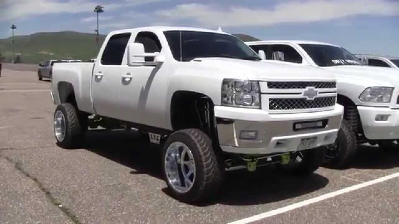 jacked up white chevy trucks - photo #9