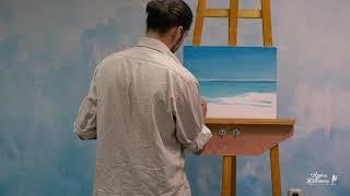 Райский морской пейзаж маслом, урок, мастер класс как рисовать маслом. Часть 1/3