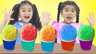 Annie and Suri Pretend Play Make Colorful Shaved Ice Cream Snow Cones