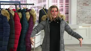 Nuage Stretch Puffer Coat with Removable Hood & Faux Fur on QVC