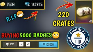 SPENDING 2 LAKH DIAMONDS ON BADGES💎😳4 LAKH RUPEES ON FREE FIRE😳🔥WORLD RECORD MADE😱