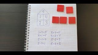 Состав числа 5 и домик. Математика 1 класс.