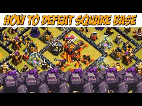 How to Attack Square Base TH10 | 7 Golem 2-3 Star Attack Strategy | Clash of Clans