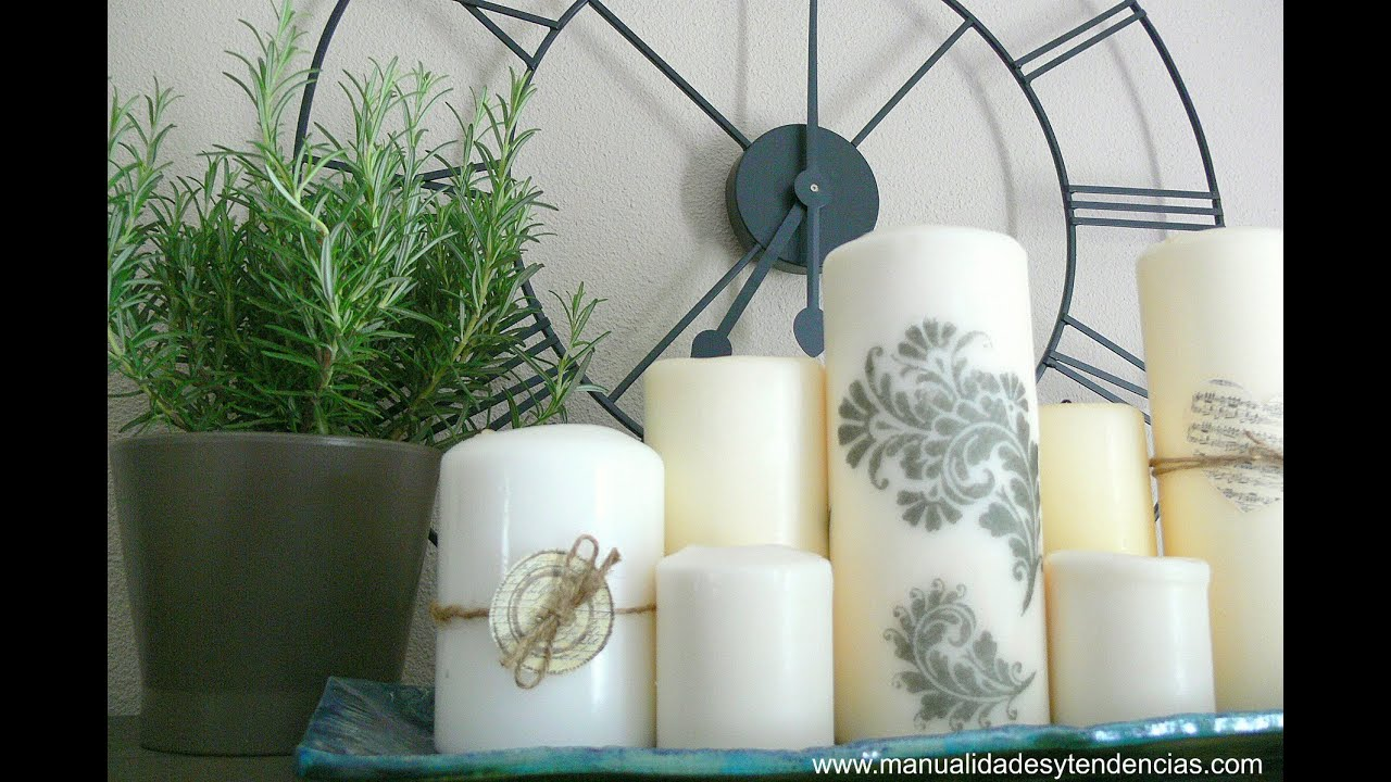 C mo decorar velas con sellos youtube for Decorar jarrones con velas