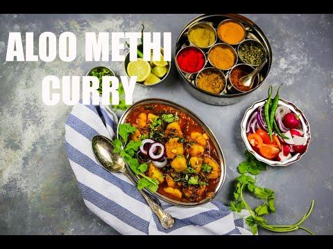 Aloo Methi Curry | Vegan Potato and Fresh Fenugreek Leaves Curry