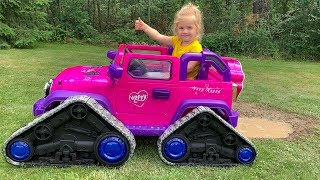 Little Girl Elis Ride On Pink Jeep - Thomas assists with NEW Wheels and Ford Ranger