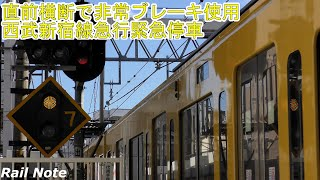 直前横断で非常ブレーキ - 西武新宿線急行緊急停車/Train used emergency brakes at Seibu shinjuku line Nakai Sta./2020.01.16