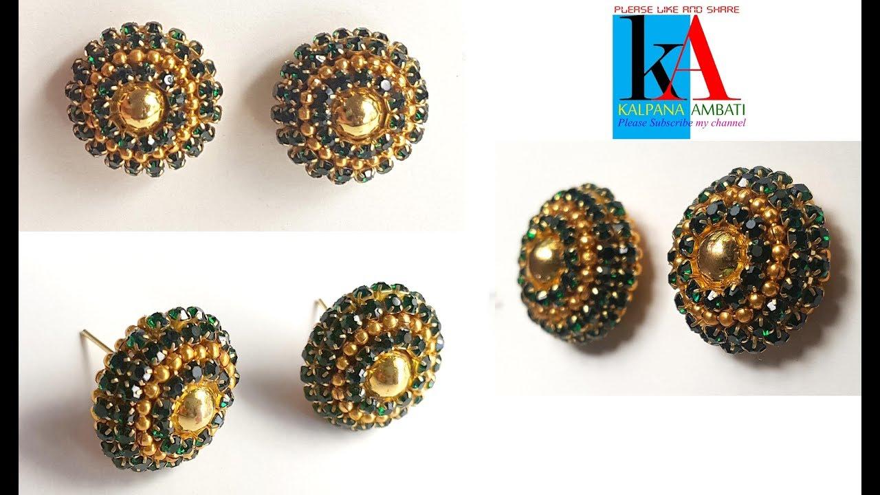 8876969e1 How to make designer silk thread earrings at home // simple silk thread  studs making // DIY