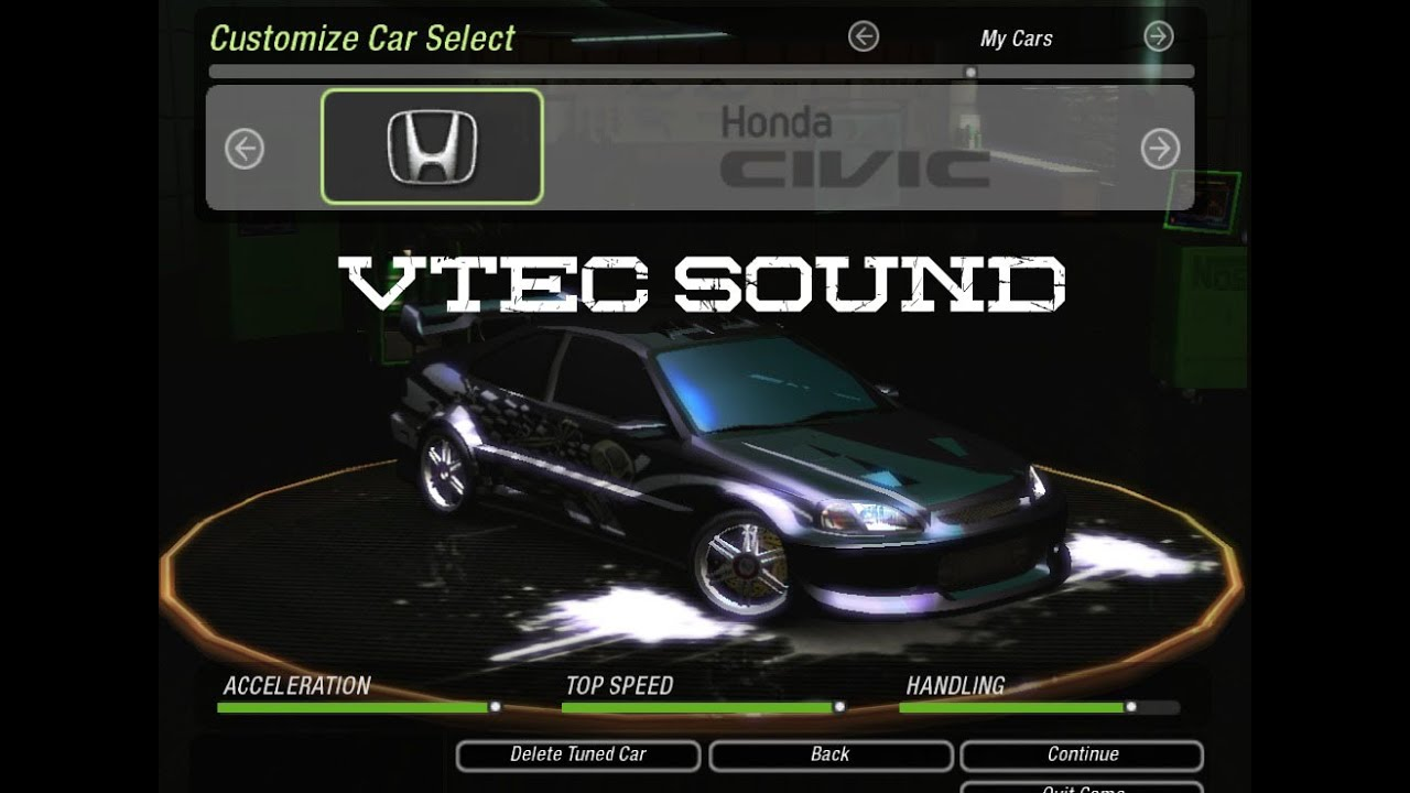 need for speed underground 2 honda civic vtec sound youtube. Black Bedroom Furniture Sets. Home Design Ideas