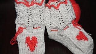 Вязание спицами пинетки сапожки ///  Knitting booties boots