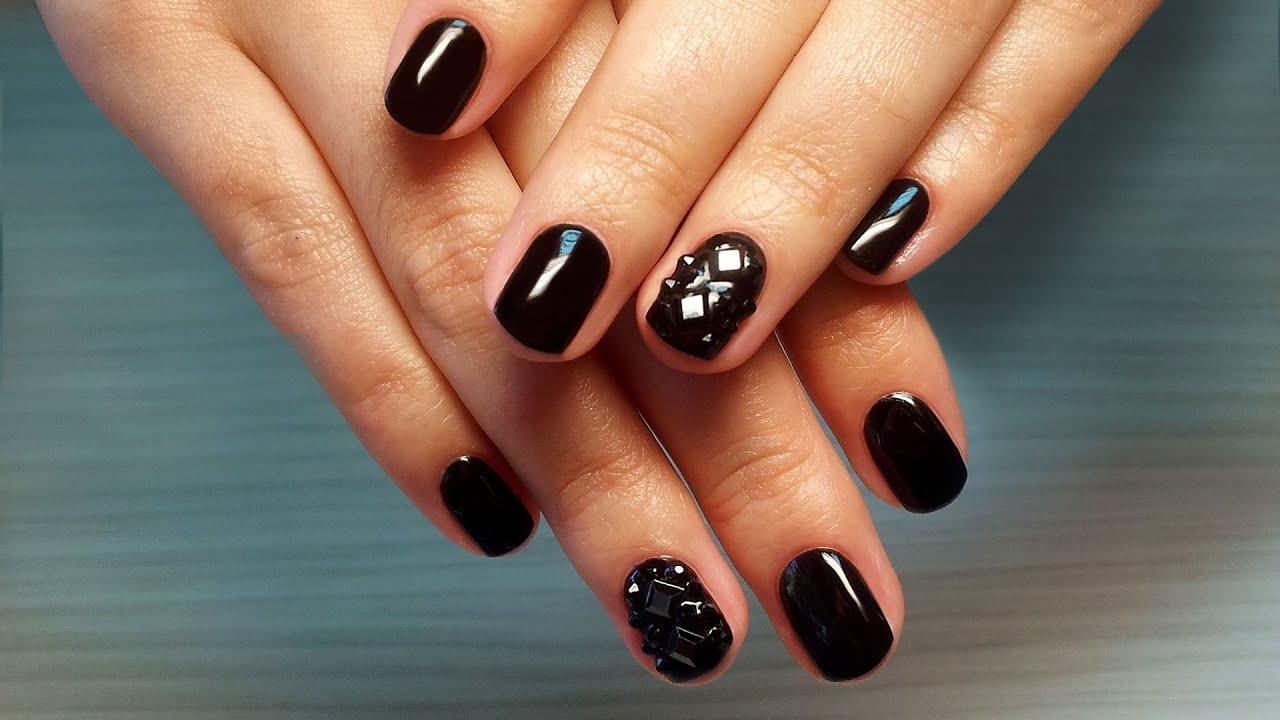 Покрытие черный ШЕЛЛАК на ногтях ФОТО 2014