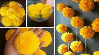 How to make PomPom Style Plastic Marigold Garland Flower Toran|Centerpiece|Handmade DIY