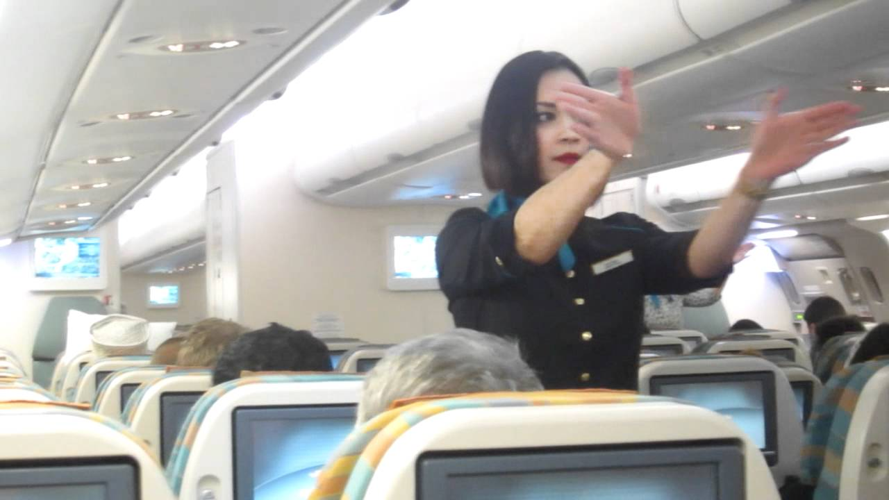 Air hostess helps out 9