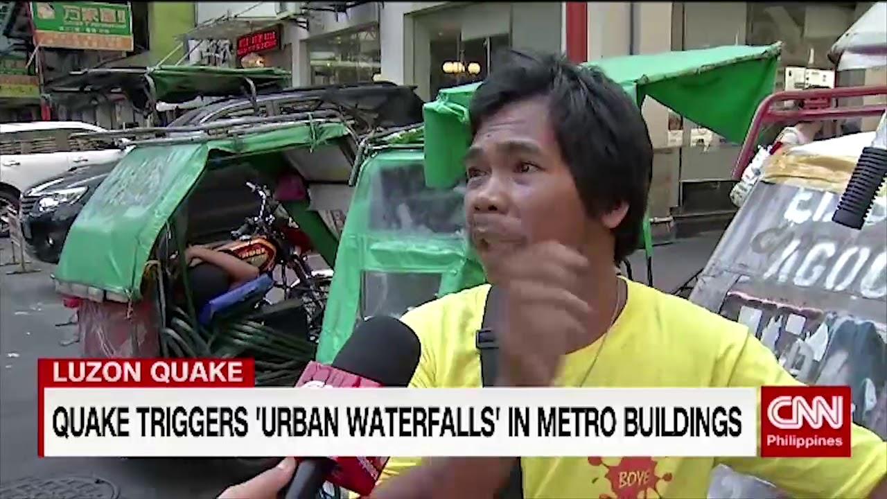 Quake triggers 'urban waterfalls' in Metro Manila