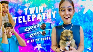 TWIN TELEPATHY WITH MY CUTE PUPPY CHALLENGE | Rimorav Vlogs