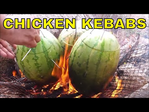 CHICKEN RECIPES - COOKING IN NATURE INSIDE 3 HEALTHY WATERMELON - QUICK EASY HEALTHY RECIPE IN WILD