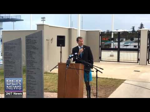 Premier Dunkley At Olympic Wall Ceremony, October 15 2016