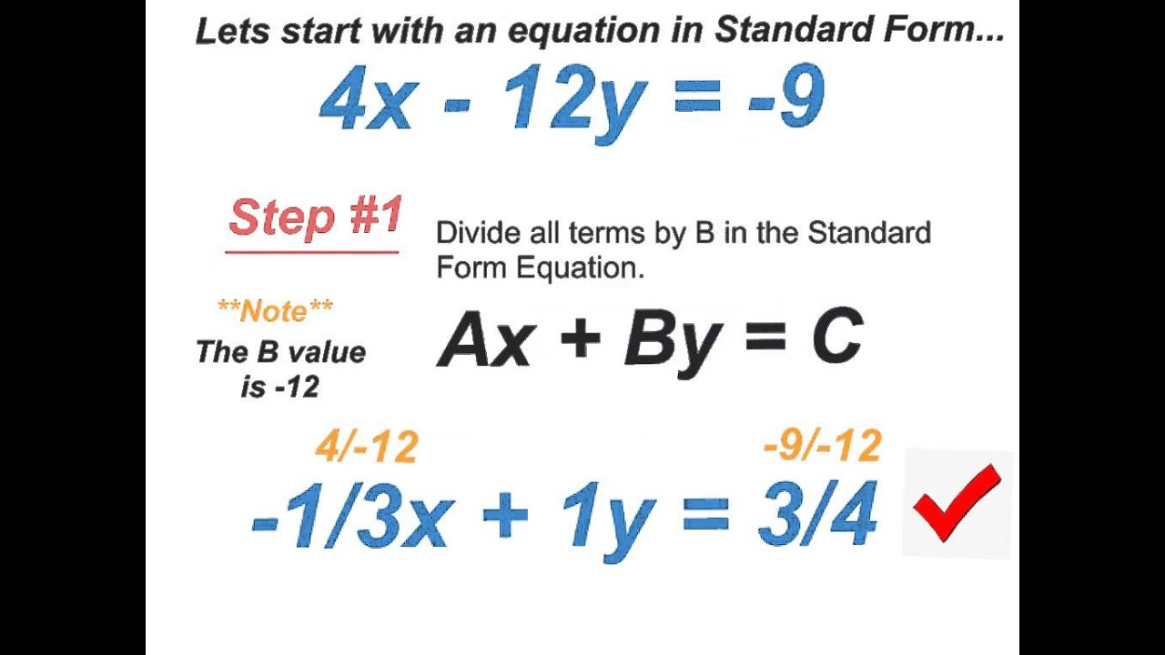Converting Standard Form Equation Into Slope Intercept Form Youtube
