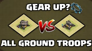 Clash of clans GEAR UP CANNON vs. NORMAL CANNON | ALL GROUND TROOPS vs. DOUBLE CANNON