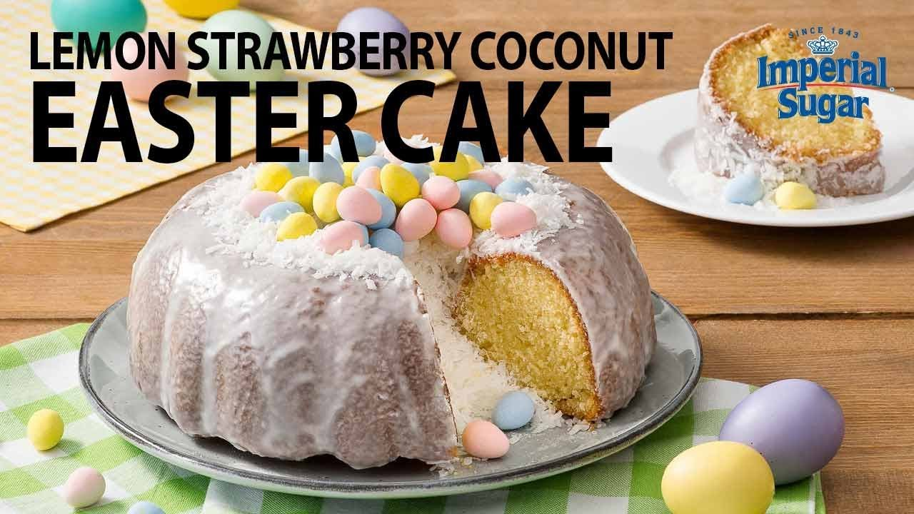 Lemon Strawberry Coconut Easter Pound Cake Youtube