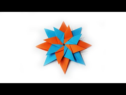 how to make a paper ninja Star Shuriken, easy modular origami DIY, Mandala Carla by Maria Sinayskaya