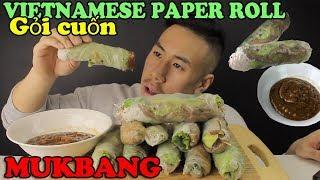 MUKBANG VIETNAMESE RICE PAPER ROLL- Gỏi cuốn-BIG BITES!