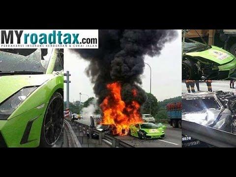 Crash Amp Burn Lamborghini Accident In Malaysia Youtube