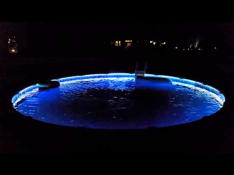 String Lights Around The Pool : Above ground color changing pool lights - YouTube