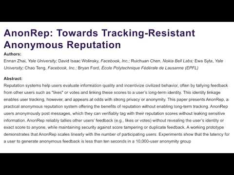 AnonRep: Towards Tracking-Resistant Anonymous Reputation