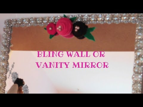 DIY | Dollar Tree Beaded Glass Mirror  |DIY Beaded Glass Vanity Mirror w/ Felt Flowers
