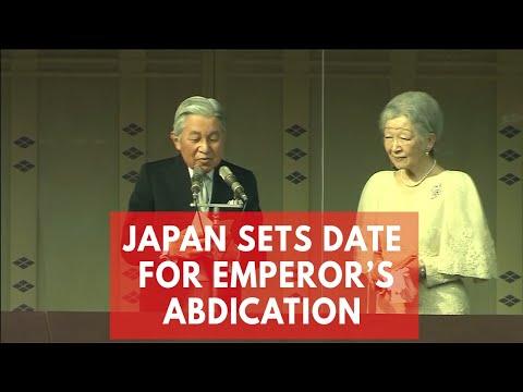 Japan Emperor Akihito to formally renounce throne in April 2019