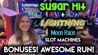 From Sweet to Sour to AWESOME!! Sugar Hit + Lightning Link Moon Race Slot Machines!!