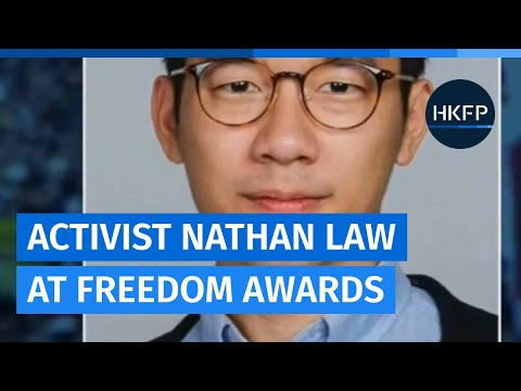 Activist Nathan Law speaks at the 2020 Freedom Awards