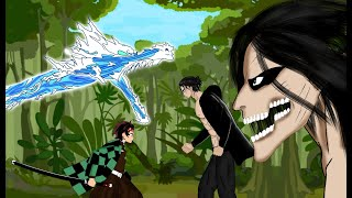 Eren yeager titan, Tanjinro demon slayer vs Cartoon Cat trevor henderson . Drawing cartoon 2 .