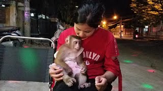 Monkey Baby Nui | Nui and his family went to drink milk tea