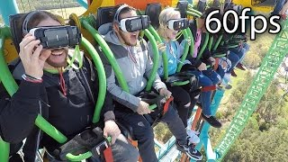 Zumanjaro: Drop of Doom VR on-ride ridercam reverse HD POV @60fps Six Flags Great Adventure