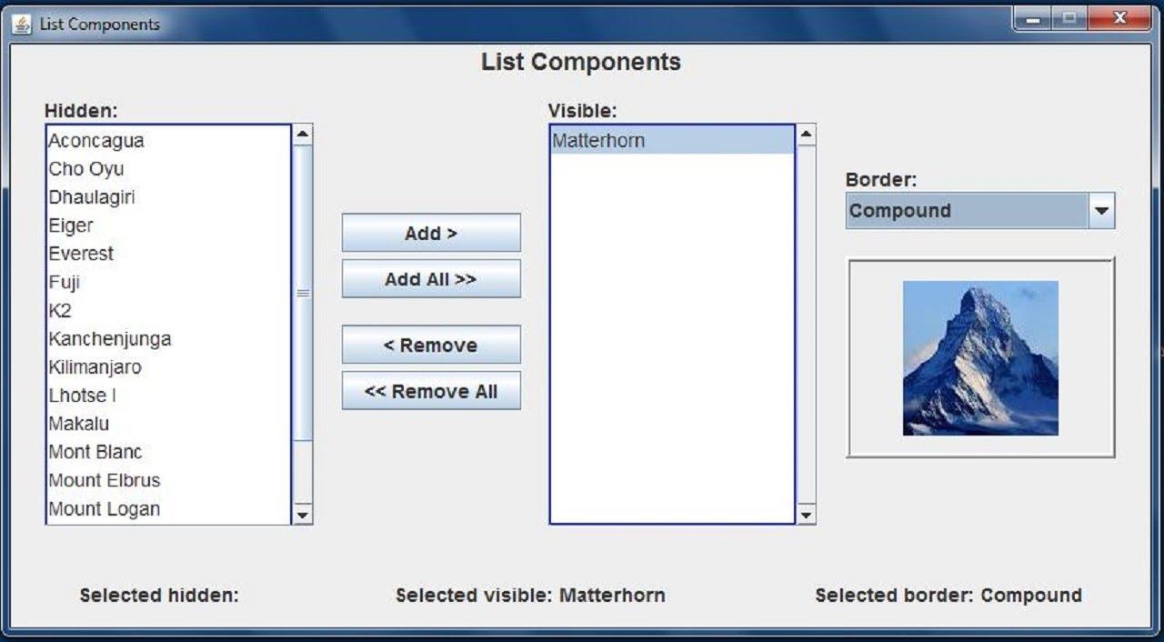 Java Gui List Components Youtube