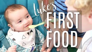 Baby Luke's First Solid Food!
