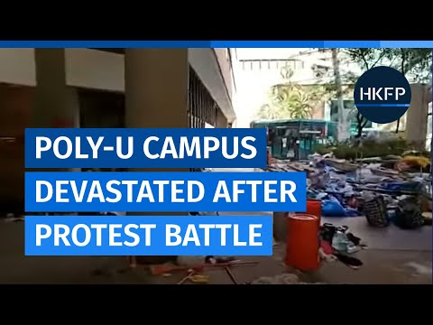 HKFP_Live Replay: Tour of the devestated Hong Kong PolyU campus following protest battle