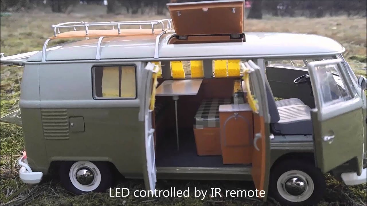schuco 1 18 vw t1 camping bus led tuning by mbw youtube. Black Bedroom Furniture Sets. Home Design Ideas